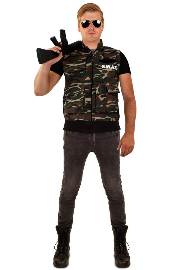 Camouflage vest voor heren one size