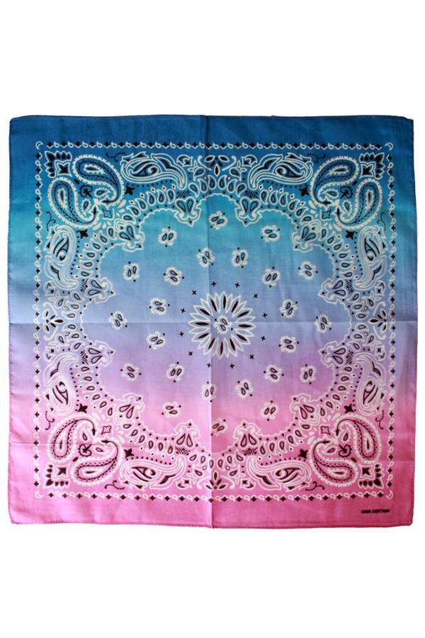Zakdoek met kleurverloop roze/paars/blauw 56 x 56 cm