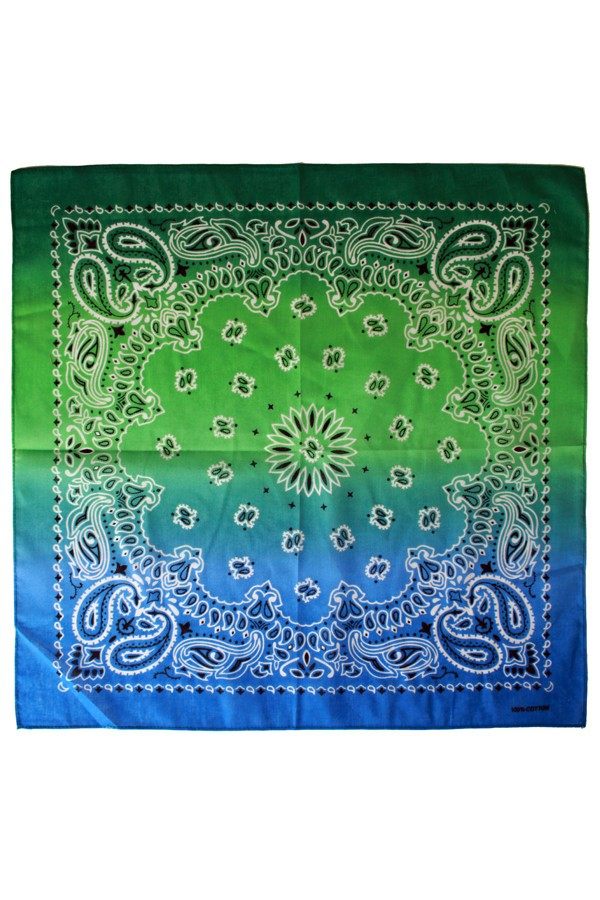 Zakdoek met kleurverloop groen/blauw 56 x 56 cm