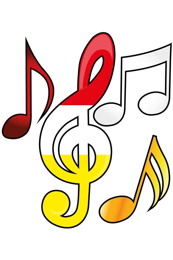 Applicaties 4 stuks op kaart Oeteldonk muzieksleutel en noten