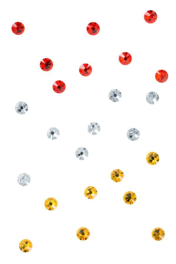 Swarovski steentjes Oeteldonk rood/wit/geel ss16 (3,8mm/4,0mm) per 24
