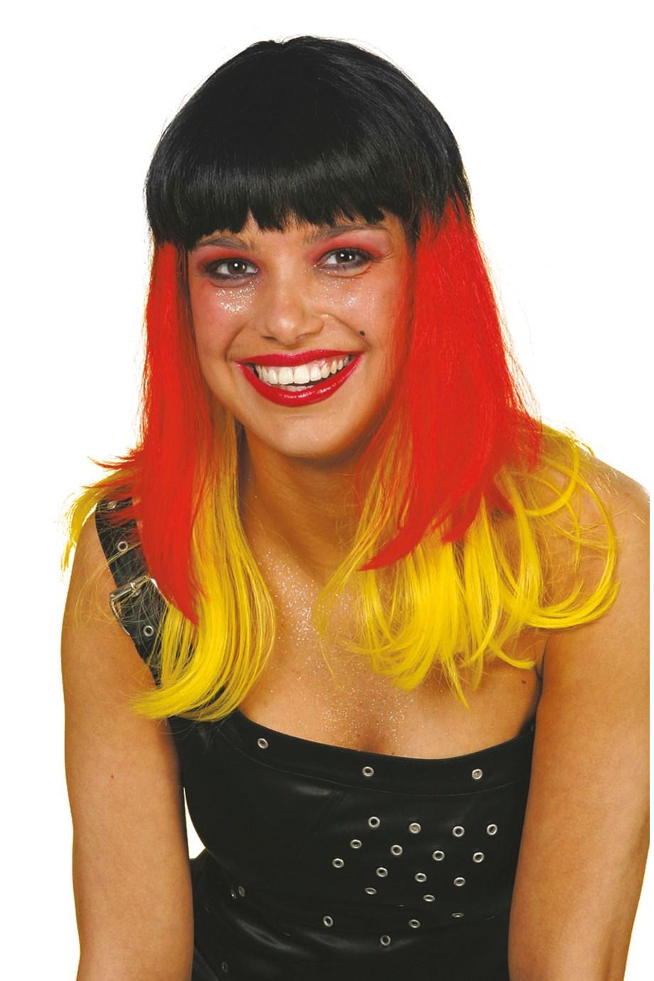 Germany pruik zwart/geel/rood