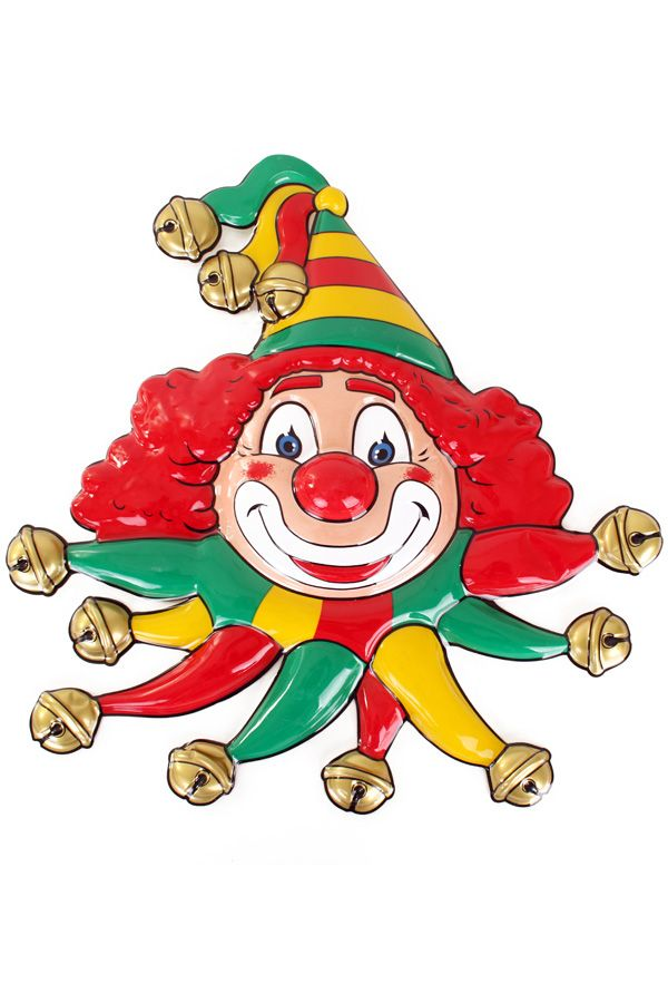 Wanddecoratie masker clown rood/geel/groen belletjes 50x55cm