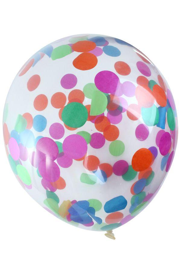 Ballon transparant confetti bont per 6 stuks (30cm/12 inch)