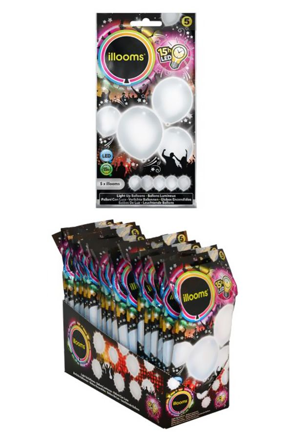 LED Ballonnen White 5 stuksØ 23cm Glows for up to 15 hrs G3A batteries included