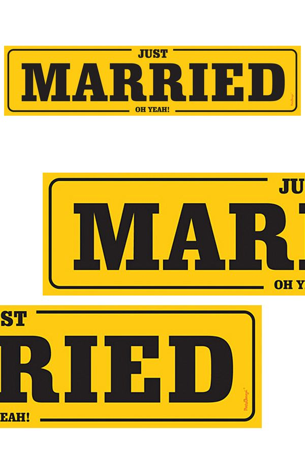 Nummerbord karton just married geel