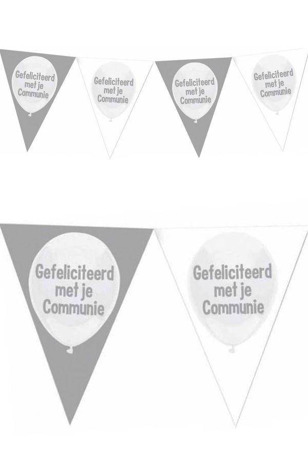 Vlaggenlijn zilver/wit Gefeliciteerd met je communie 6m plastic