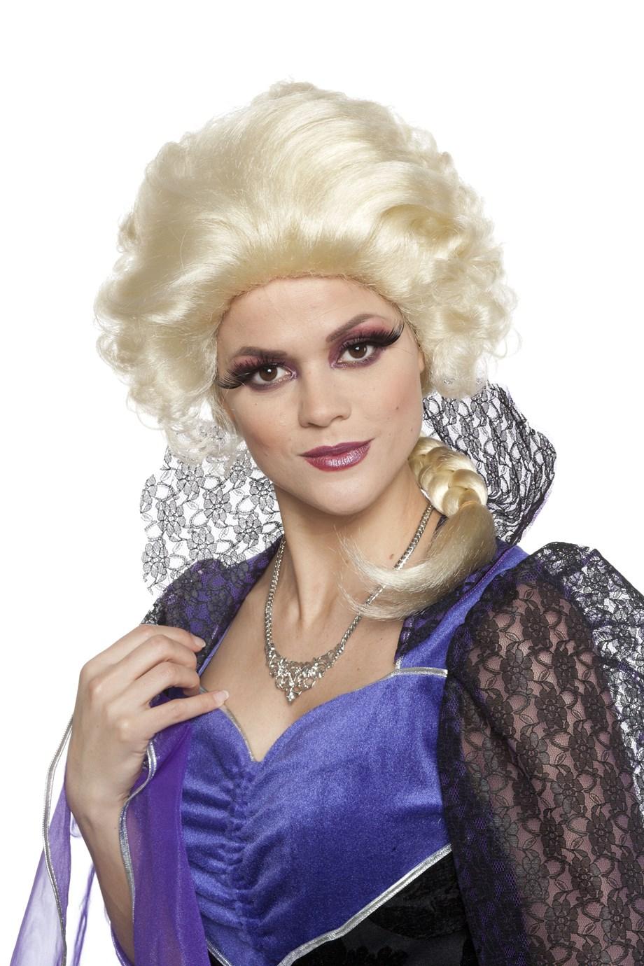 Renaissance pruik met staart blond