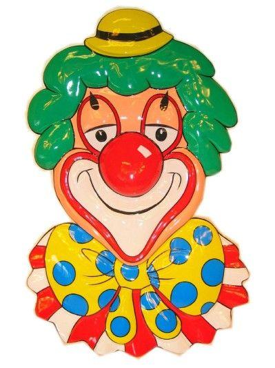 Decoratie clowns hoofd met gele bolhoed 70cm