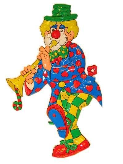 Decoratie clown met trompet 70cm