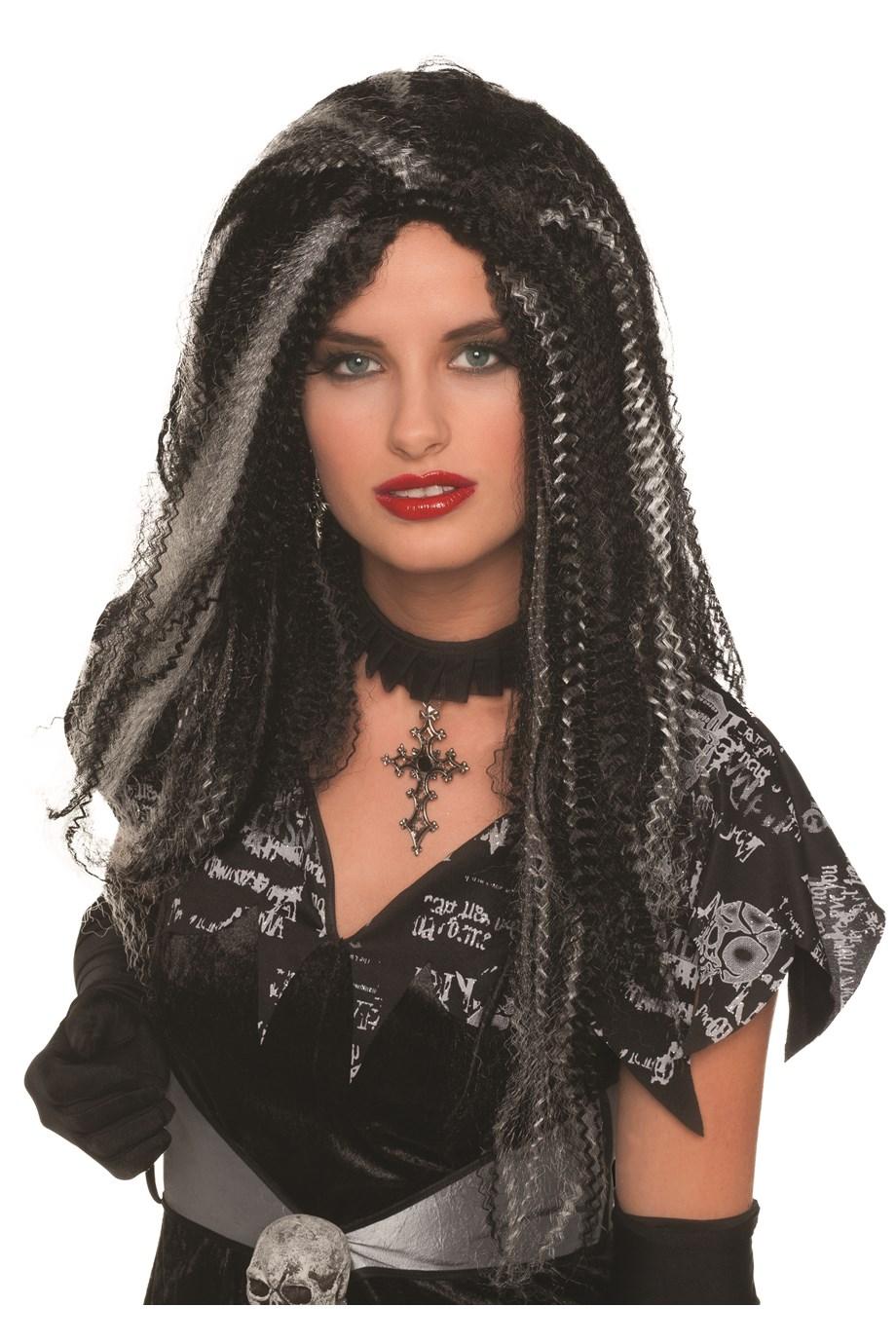 Gotthic dames pruik zwart/wit