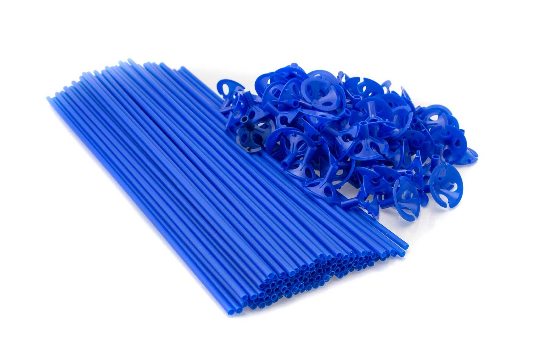 100 Balloonsticks en cups blauw