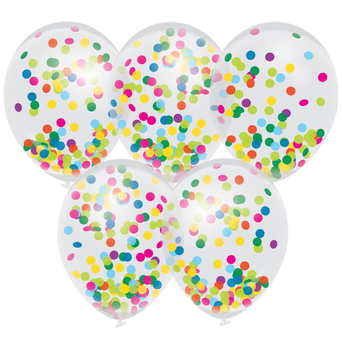 Confetti ballonnen zijdevloei kleur per 5 stuks
