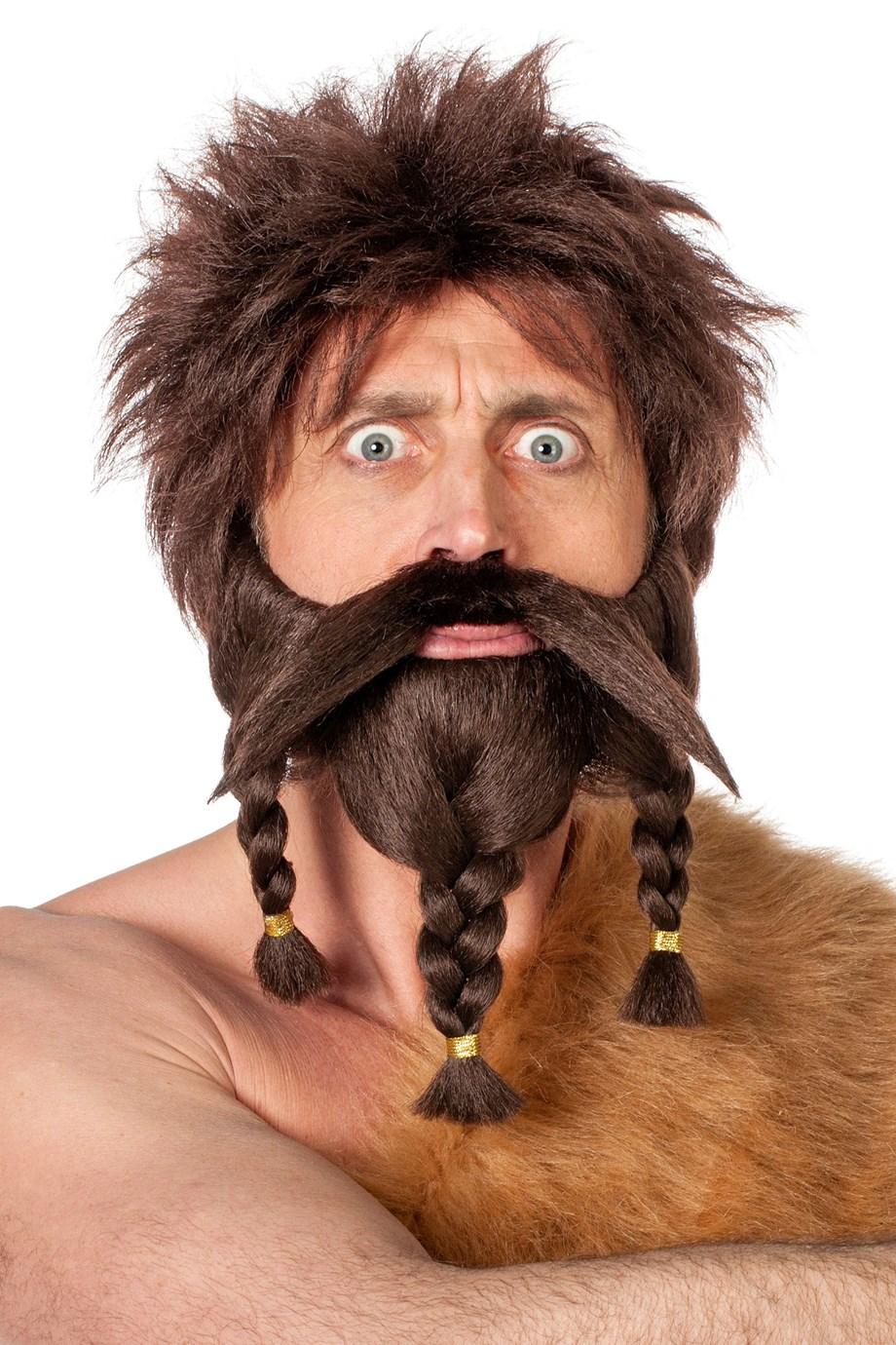 Snor en baard met vlecht bruin