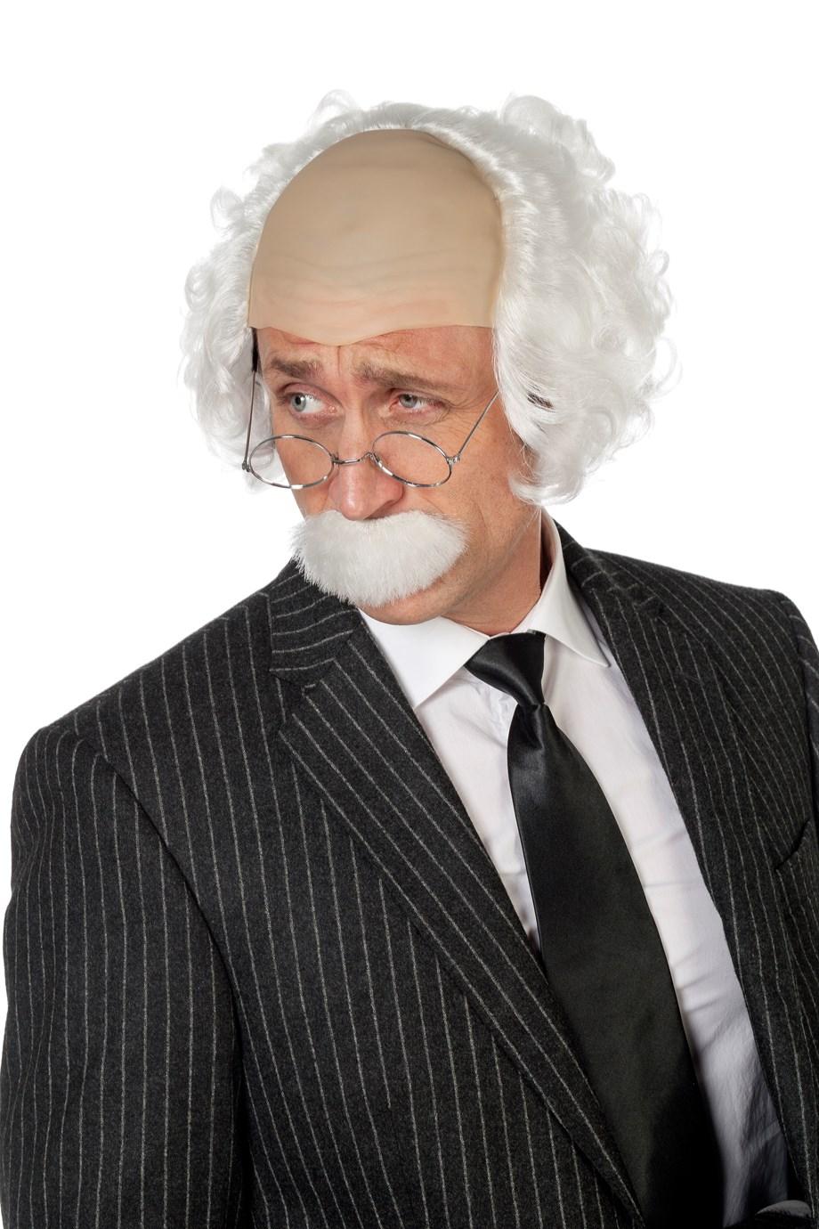 Pruik Einstein met snor wit