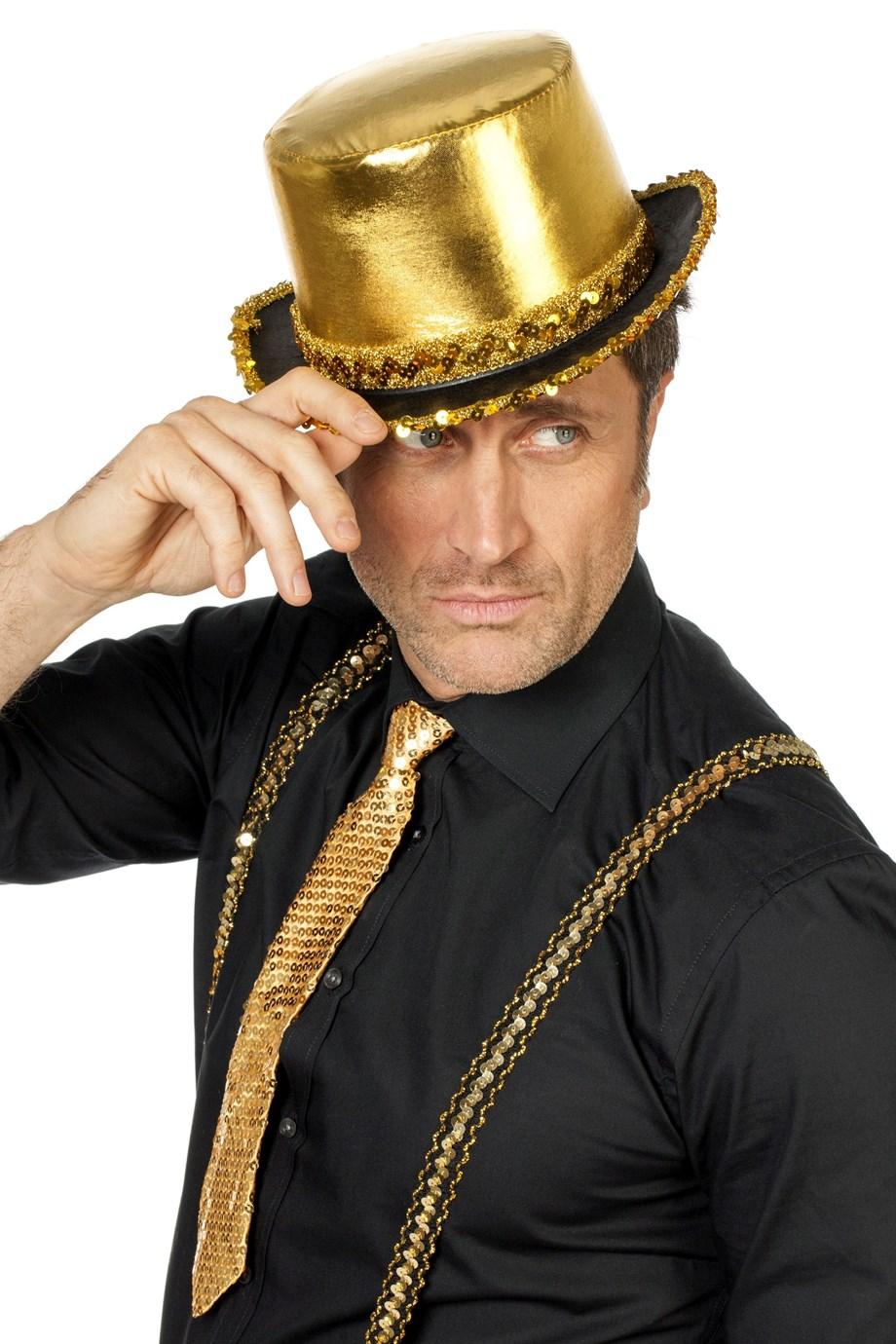 Hoge hoed lamee met pailletten band Goud