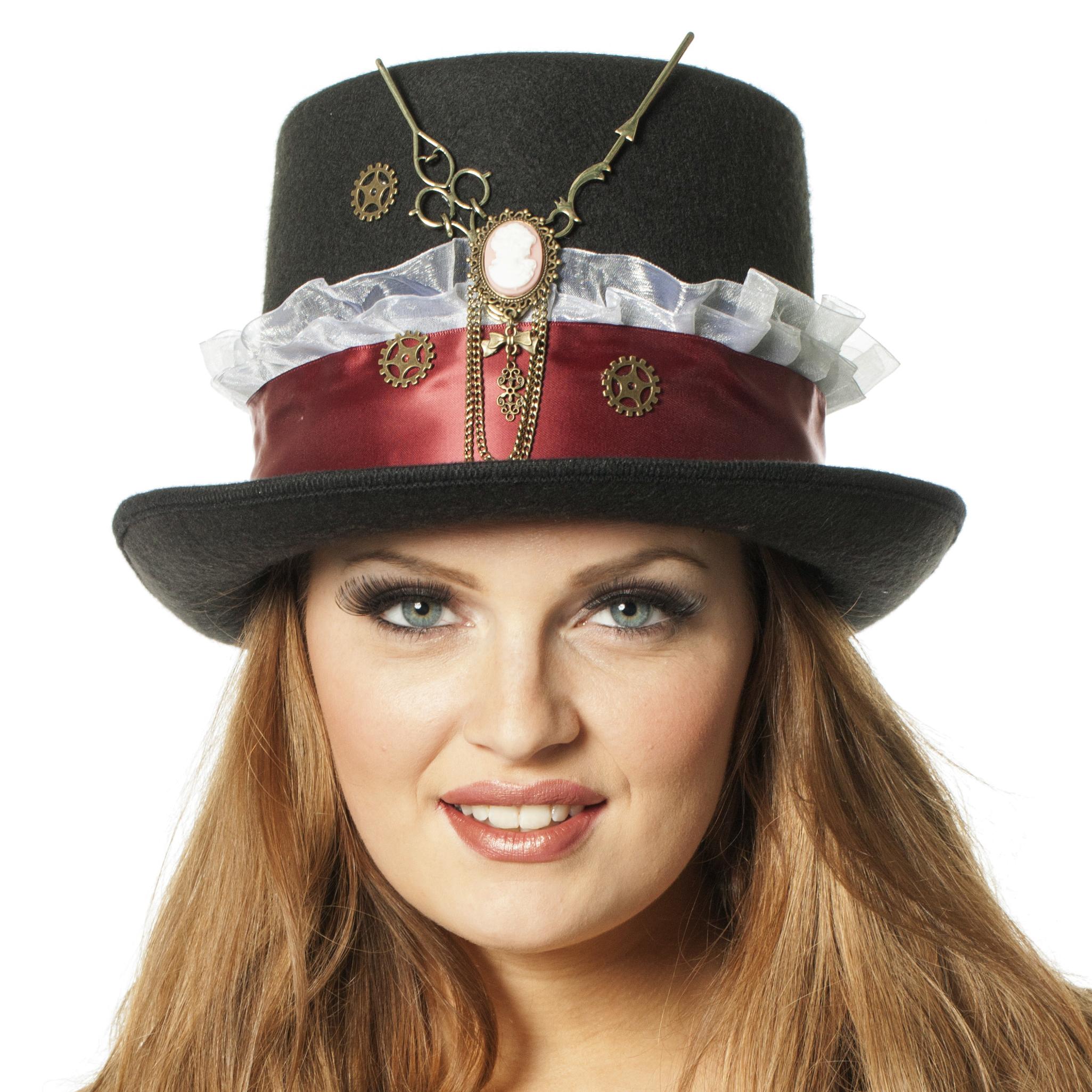 Hoge hoed Steampunk klok zwart