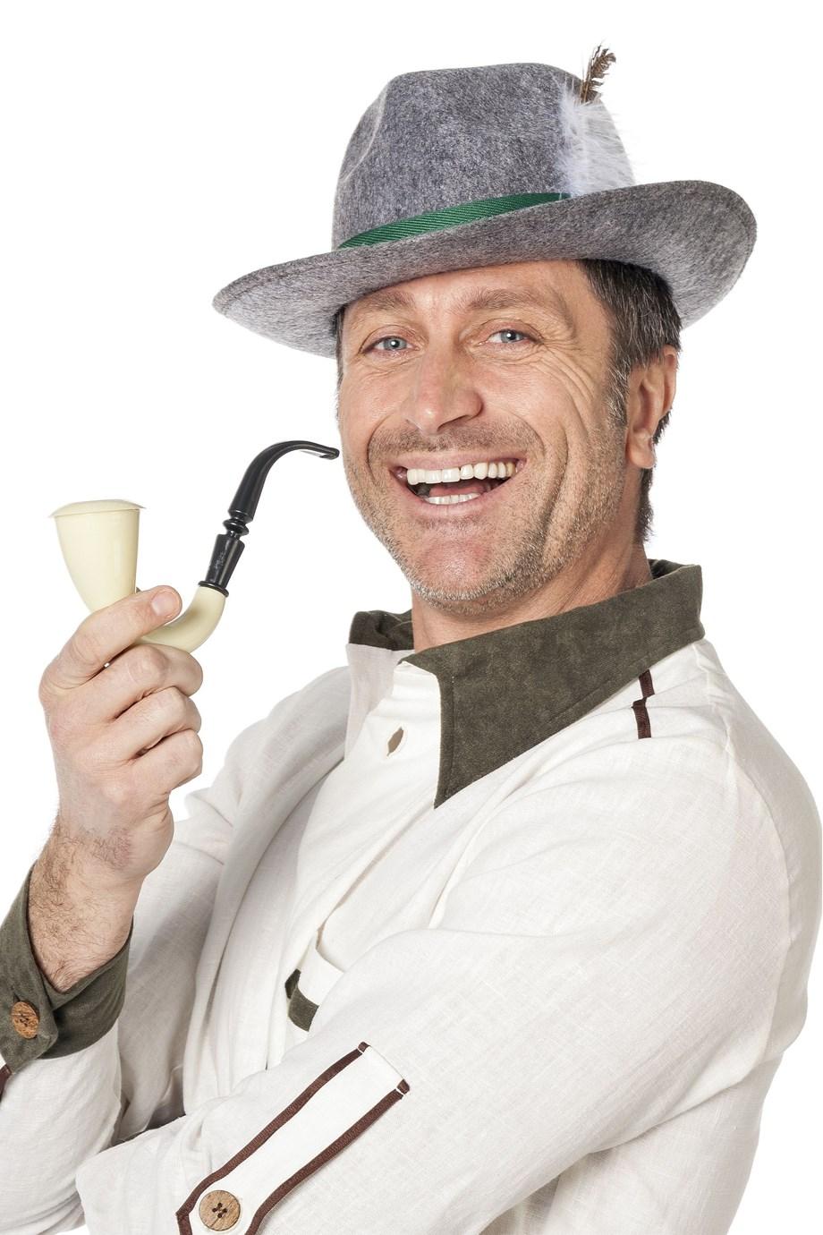 Grijze Beierse hoed met veer