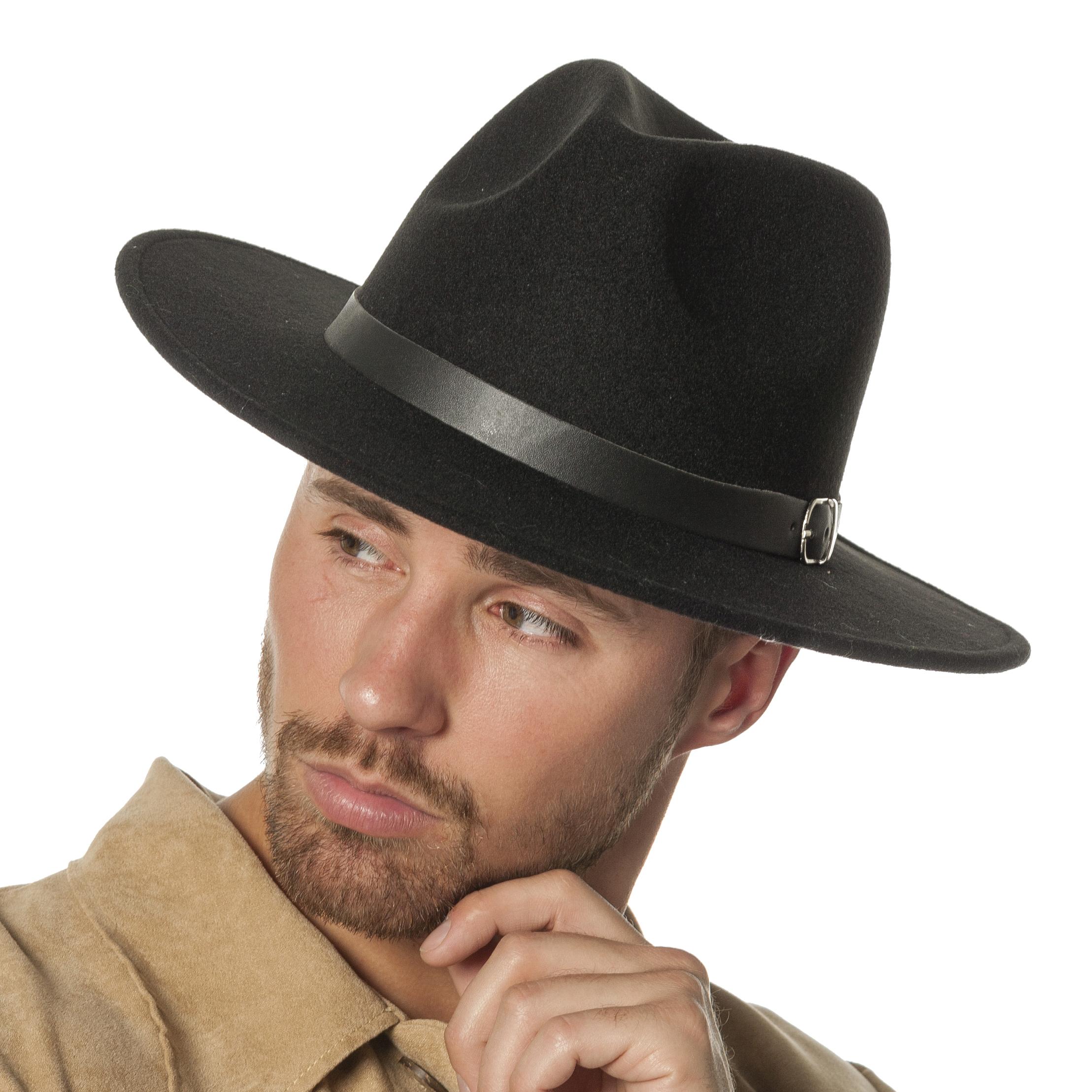 Cowboyhoed Clint wolvilt zwart