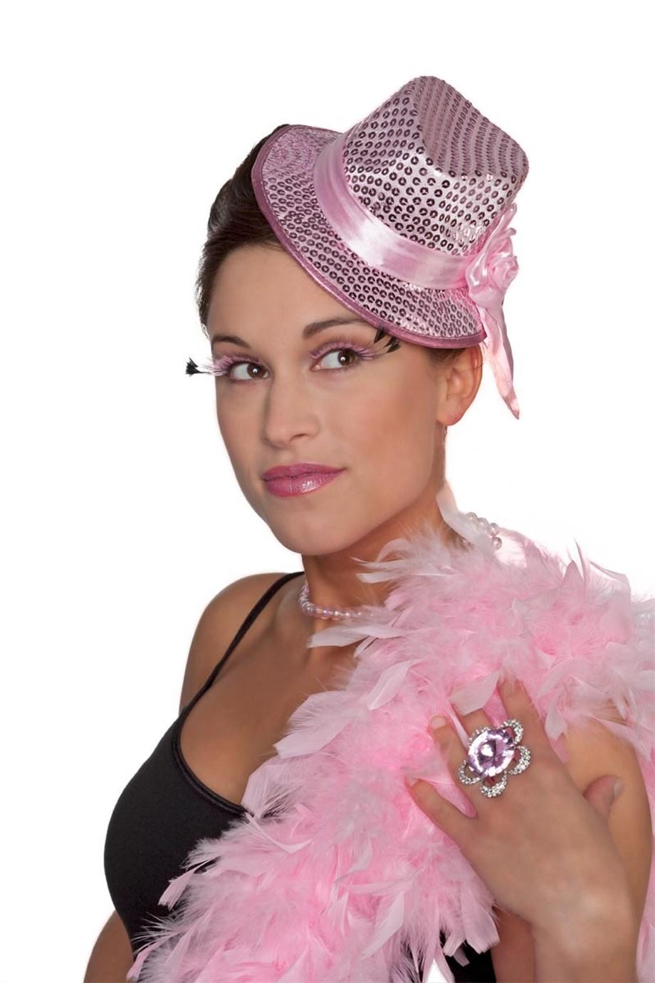 Gangster mini roze pailletten hoed met clip
