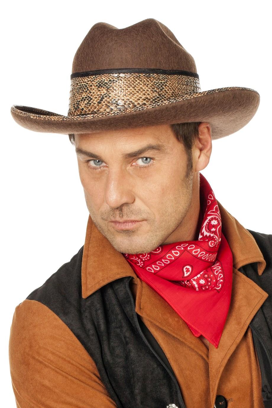 Cowboyhoed texas bruin met slangenband