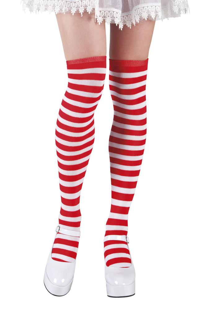 Dorus knie kousen rood/wit