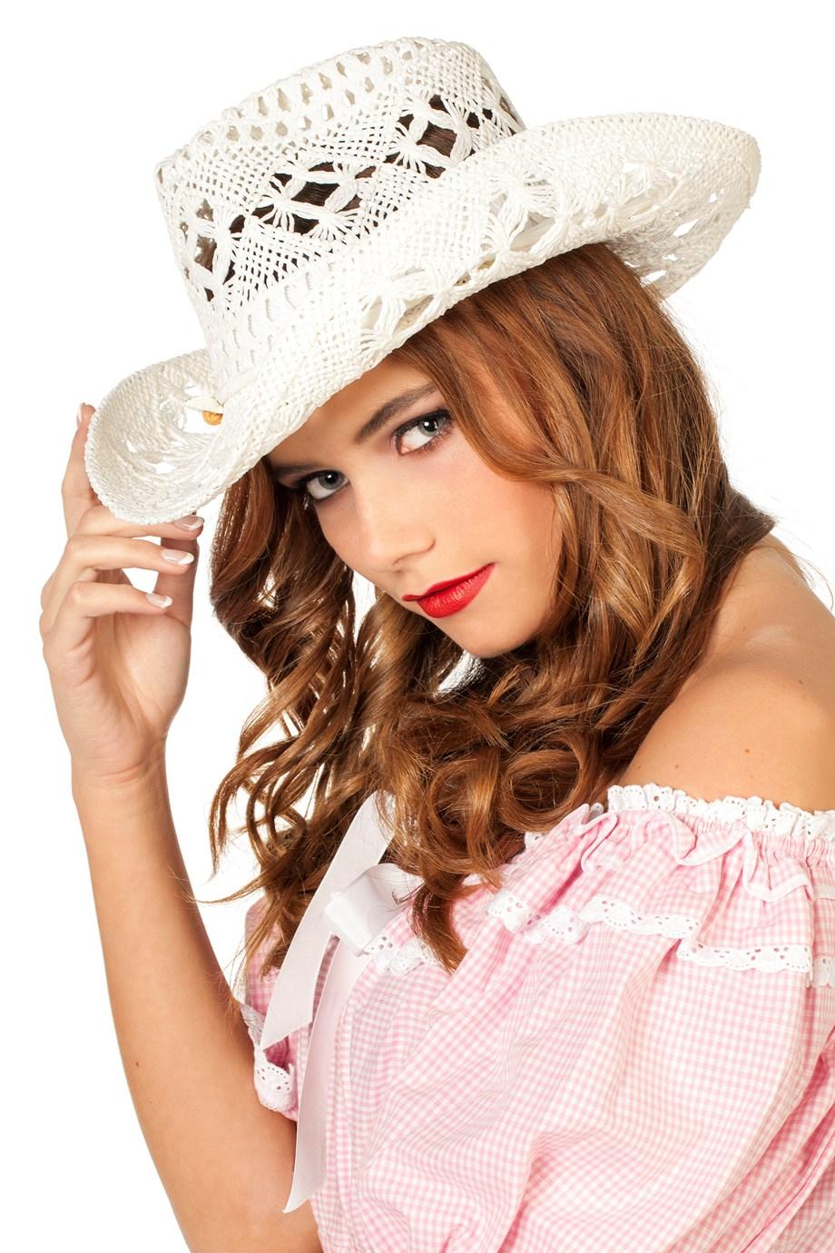 Strohoed dames model wit