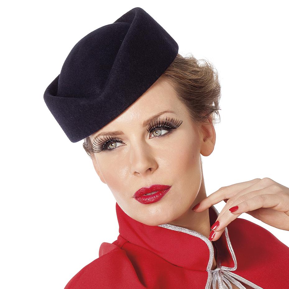 Hoed stewardess wolvilt blauw