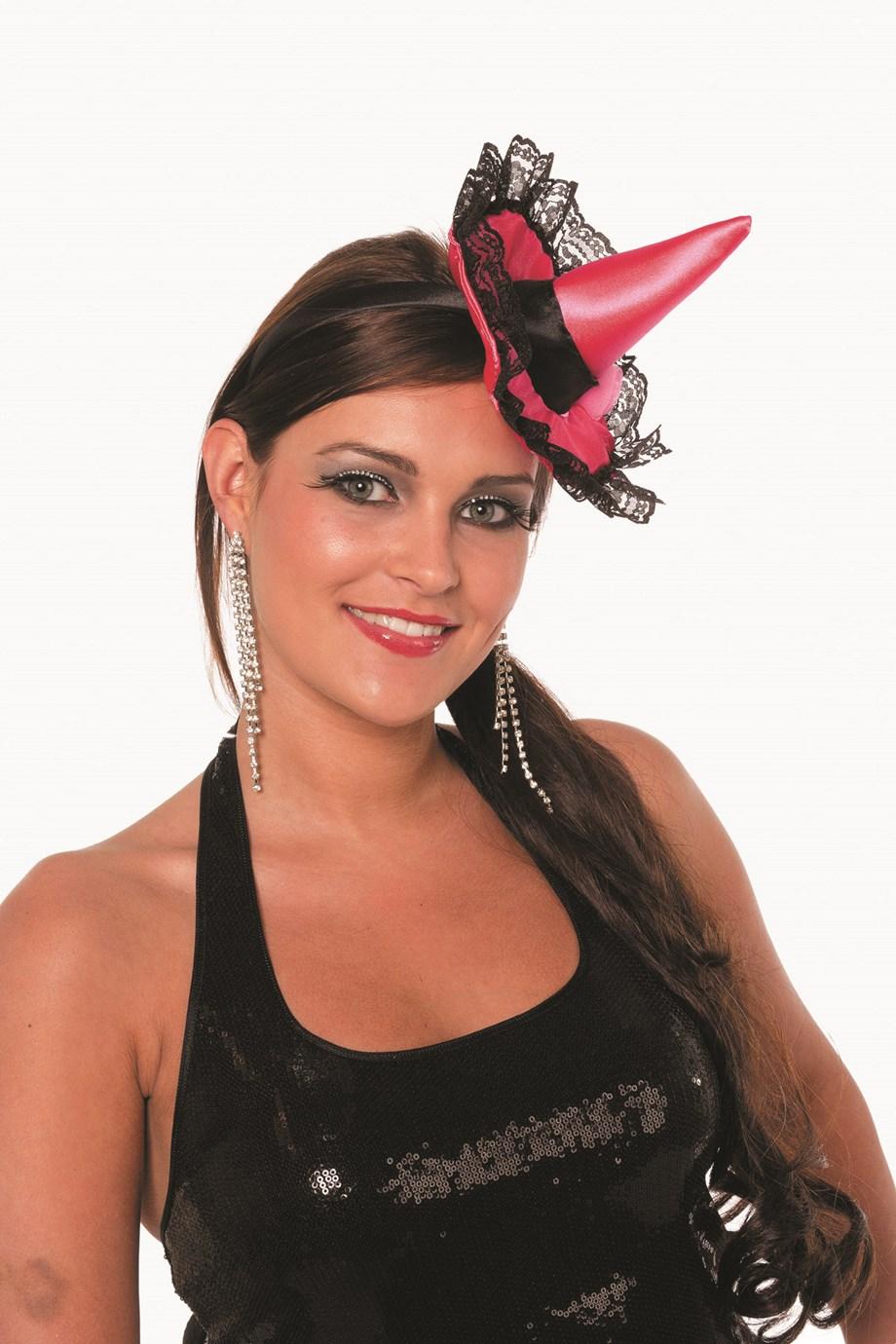Heksenhoedje mini op haarband pink