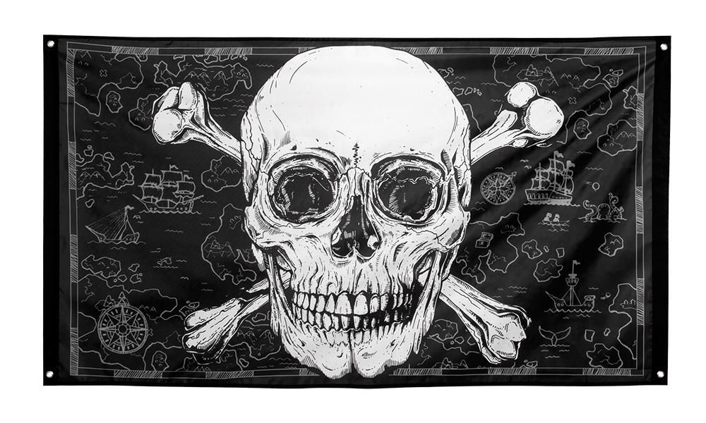 Polyester vlag Piraten (90 x 150 cm)