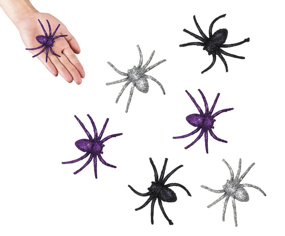6 Spinnen glitter 3 kleuren gemengd