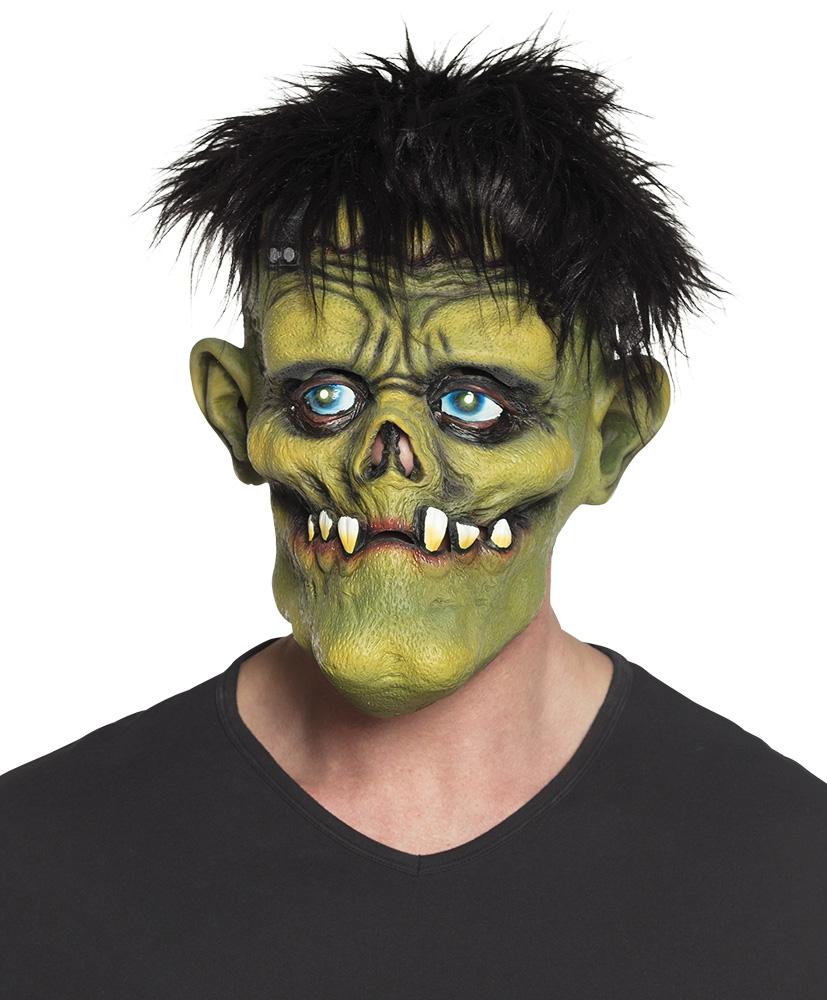 Latex hoofdmasker Creepy monster met haar