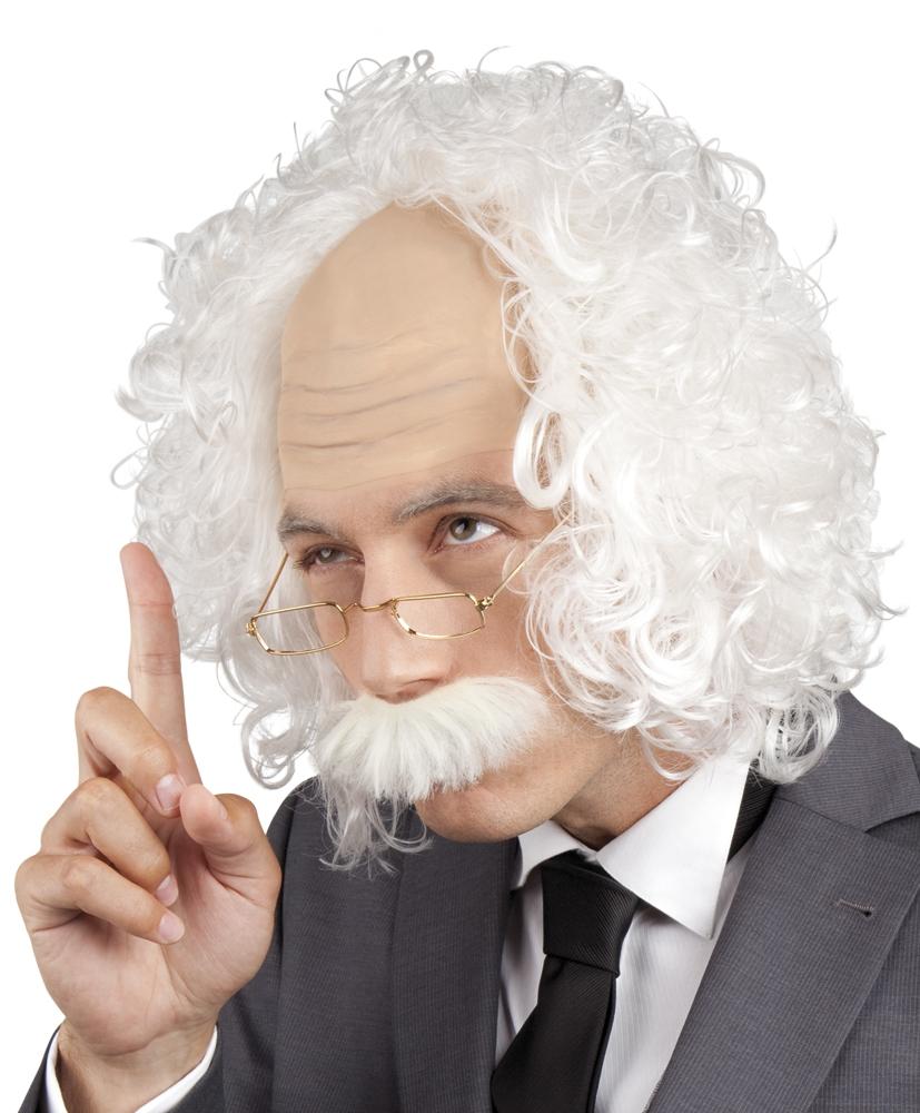 Pruik Professor met snor en bril