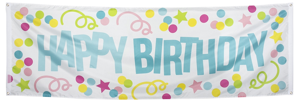 Polyester banner Happy Birthday (74 x 220 cm)