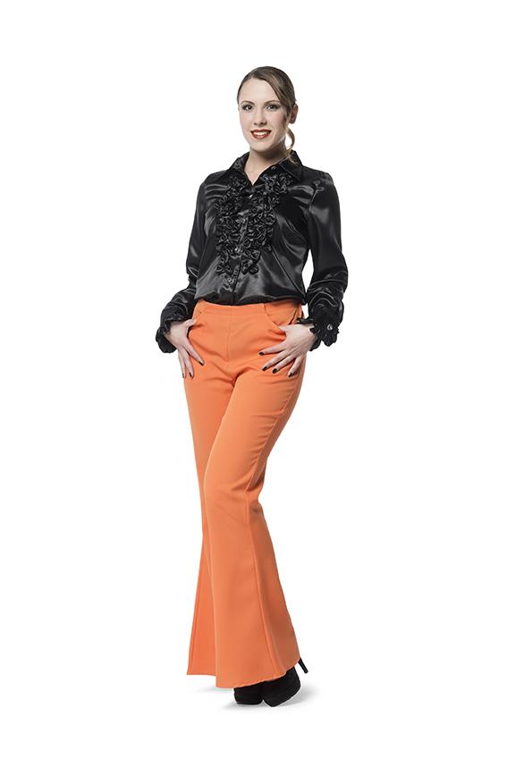 Broek Flairpijp Uni Oranje voor dame