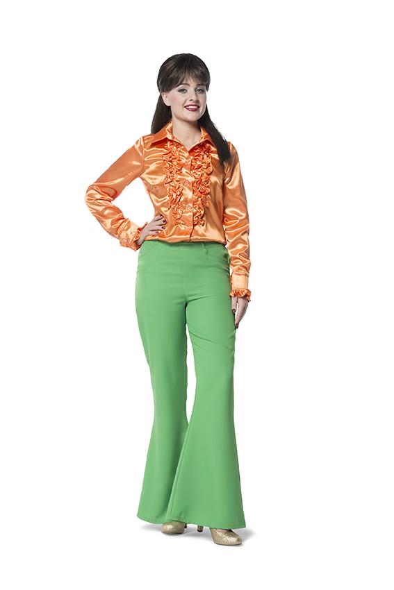 Broek Flairpijp Uni Groen voor dame